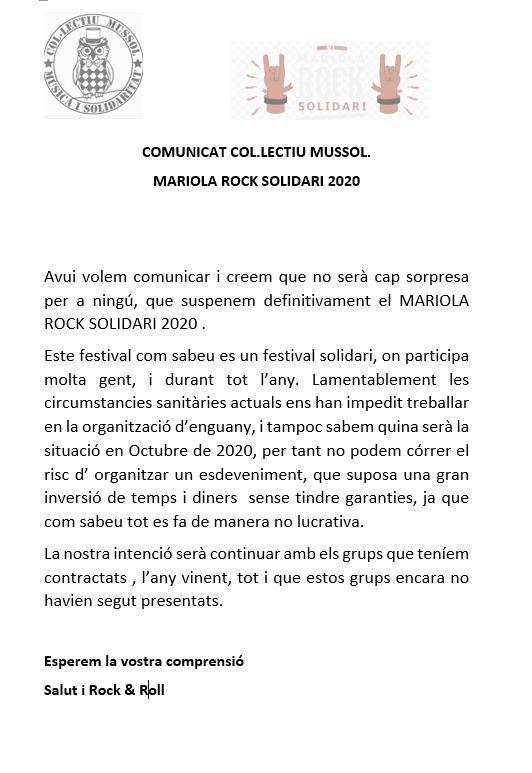 Mariola Rock Solidari 2020